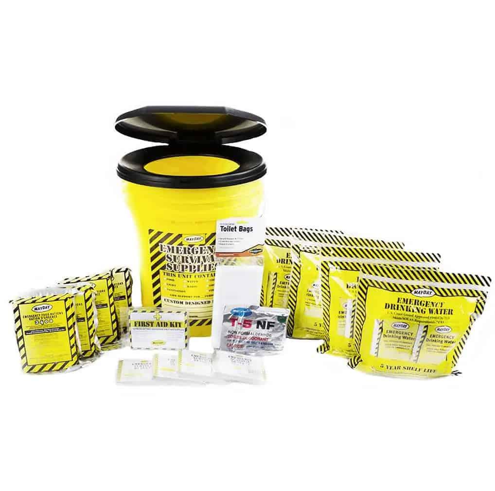 Deluxe Emergency Honey Bucket Kits (4 Person Kit)