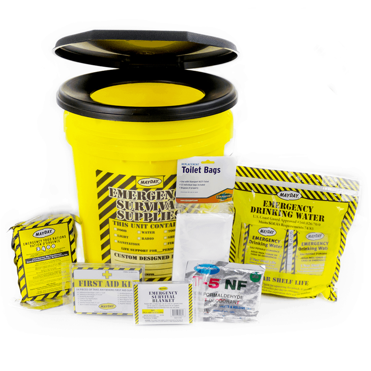 Economy Emergency Honey Bucket Kits (1 Person Kit )